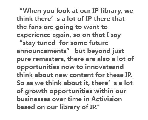 暴雪发行总裁:将会有更多重制IP计划 并加入新内容