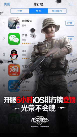 6小时登顶iOS免费榜 《光荣使命》手游成战术竞技