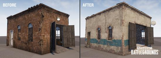 游戏中房屋的新外观,右为调整后