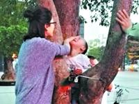 4岁熊孩子爬树被卡树缝 30多名警民协力切树救出