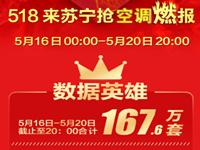 苏宁发布518抢空调燃报 下一波抢购节点在618