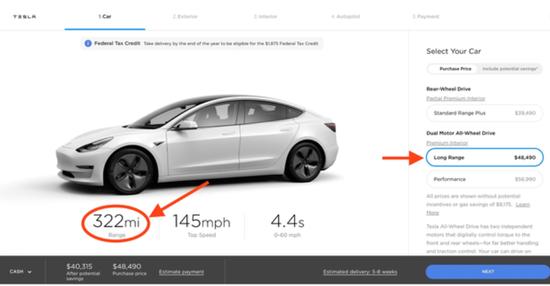 特斯拉长续航版Model 3增加12英里里程