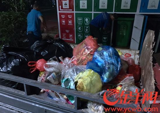 荔湾芳村花园小区,没有破袋的餐厨垃圾