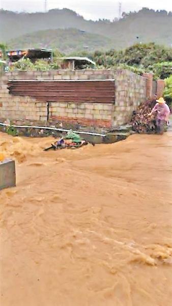 李大叔被河水冲走时的情景。