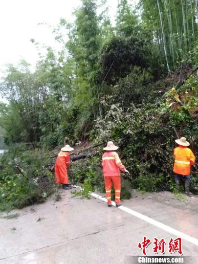 广东惠州市龙门县公路部门正在组织清理路障 龙新心 摄