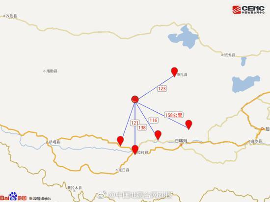 震中5公里范围内平均海拔约5646米。
