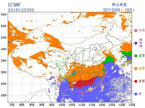ECMWF模式对12月29-30日的降水类型预判,可见南方有大规模雨雪天气