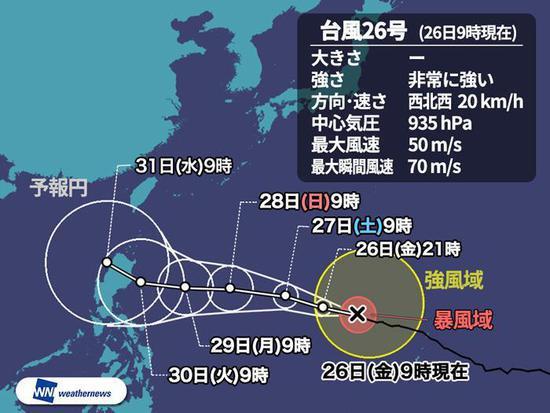 """第26号台风""""玉兔""""推测行进路线(日本气象新闻)"""