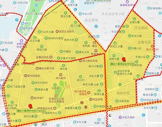 罗湖区教育局2018年公布的学校地段学区(黄色区域)示意图。 澎湃新闻 制图