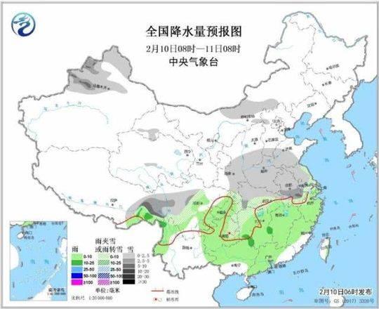 图1 全国降水量预报图(2月10日08时-11日08时)。图片来源:中央气象台网站