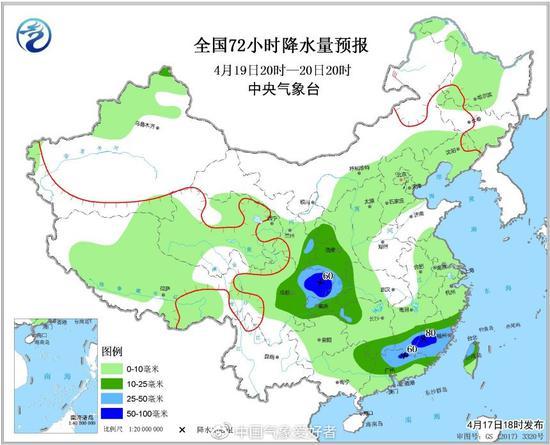 4月20-21日的官方预报中,可看到四川和江浙沪的大到暴雨区