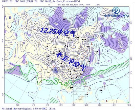 12月23日晚500百帕和地面天气形势,底图来自NMC,中气爱标注