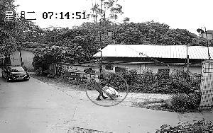 视频监控显示,嫌疑人在别墅盗窃得手后把赃物拉出。  信息时报记者 萧嘉宁 翻拍