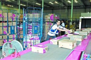 白云区某快递公司员工正忙碌地发件。广州日报全媒体记者高鹤涛 摄