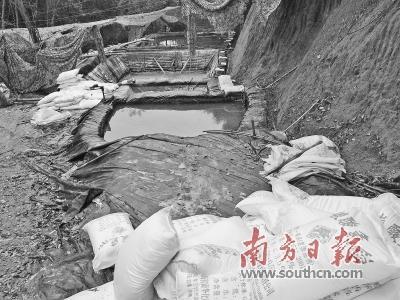 盗采稀土作业点简易沉淀池现场堆放着大量碳酸氢铵等化工原料。