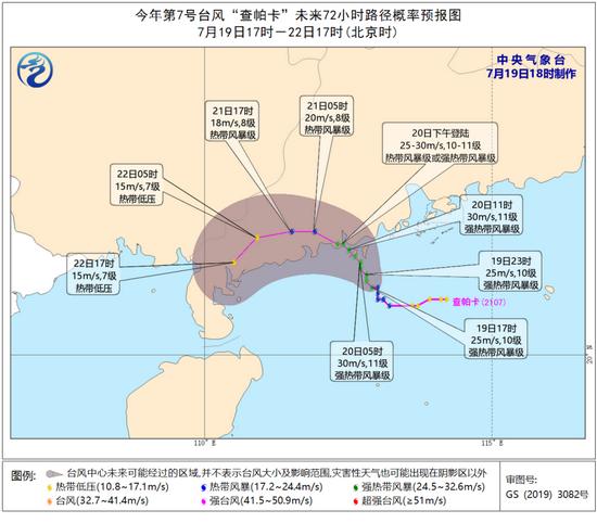 """中央气象台对""""查帕卡""""的路径预测"""