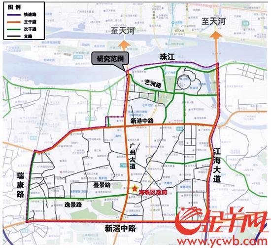 广州大道(海珠北段)地区交通微改造方案规划研究范围示意图