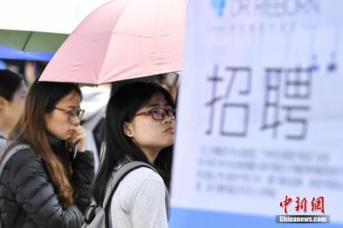 资料图:高校毕业生在招聘会现场。中新社记者 陈骥旻 摄