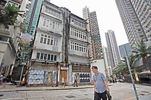 香港上环士丹顿街88至90号获古迹办建议列为二级历史建筑。图片来源:香港《大公报》记者 摄