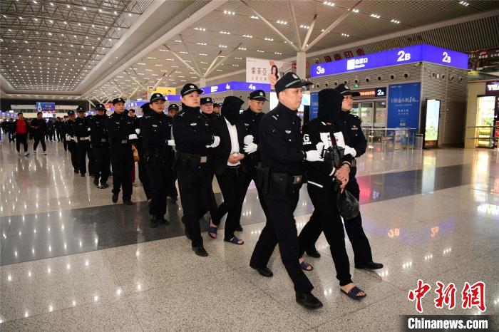 17日夜,郑州警方将7名主犯押解回郑州。警方供图
