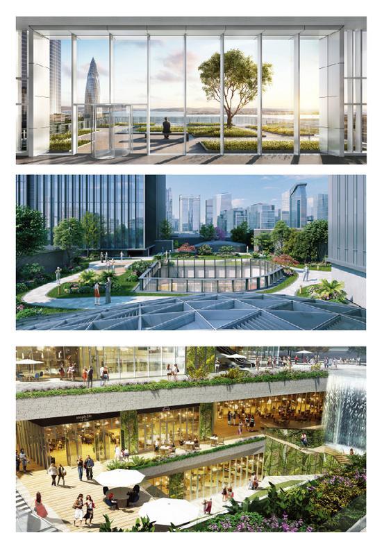 联想后海中心 空中花园、屋顶花园及下沉广场 效果图