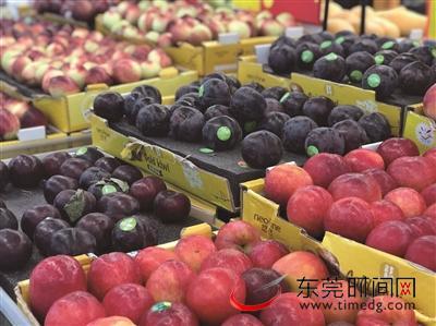 超市售卖的各类水果 东莞时报记者 李梦颖 摄