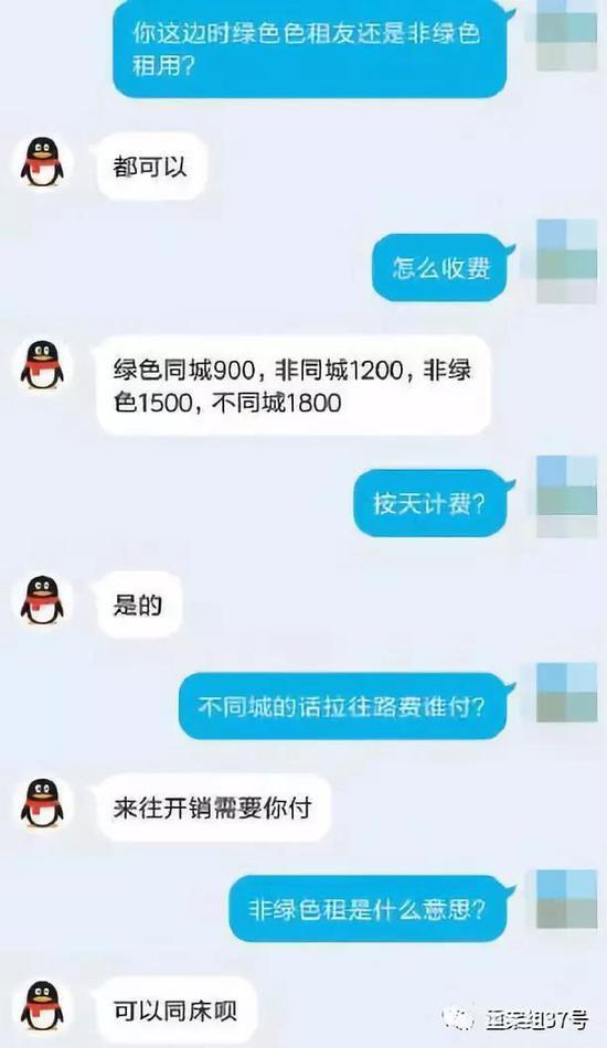 记者私聊一名在QQ群发布绿色租友信息的女子后,对方表示可以同床。 手机截屏