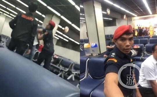 中国游客梅先生在泰国廊曼机场被安保人员当众殴打视频截图及当事安保人员。图片来源/当事人