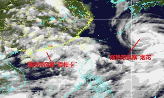 """7月19日晚,""""查帕卡""""和""""烟花""""的合影 记者梁怿韬根据广州市气象台卫星云图制图"""