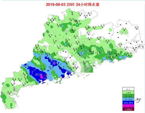 3日0时至23时广东累计降雨量统计图