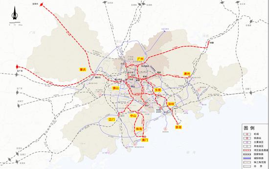 粤港澳大湾区航空航运铁路图
