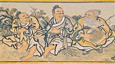 三善村鳌山古庙内潮音阁门上的壁画。