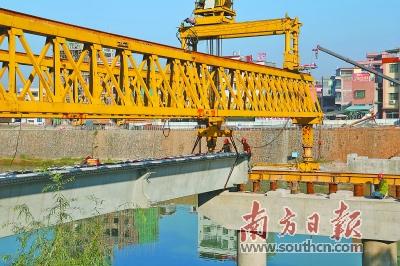 清远城北桥改造开始架设预制梁 上部结构施工启动