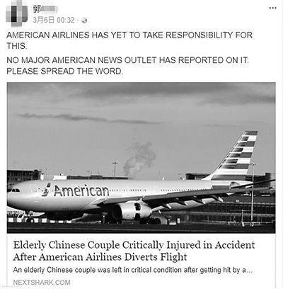 作为整件事的目击者,郭女士将全部经历发布到网上。图为美航班机。 (网页截图)