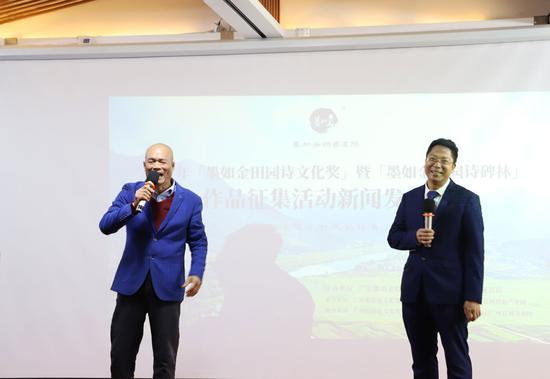 左起:广东墨如金诗书画院院长蔡铧扬先生,中国国际广播电台特约评论员唐德鑫教授