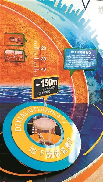 展馆内的地下流体监测仪,深达150米