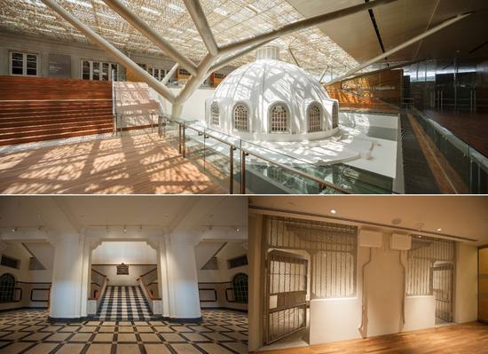 美术馆内部景观:通往审判庭楼梯、嫌疑犯拘留室