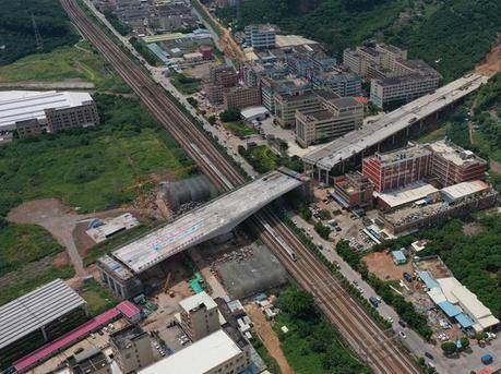 超2万吨跨铁路转体桥成功转体