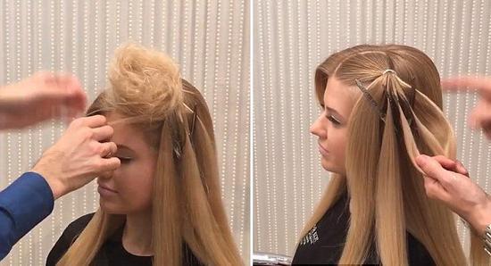 俄罗斯女发型师编新型发型 用头发打造礼帽走红图片