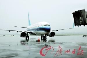 雨中停在白云机场的飞机。广州日报记者李妍 通讯员魏淑强 摄
