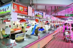 员村市场的光鸡交易区休市。