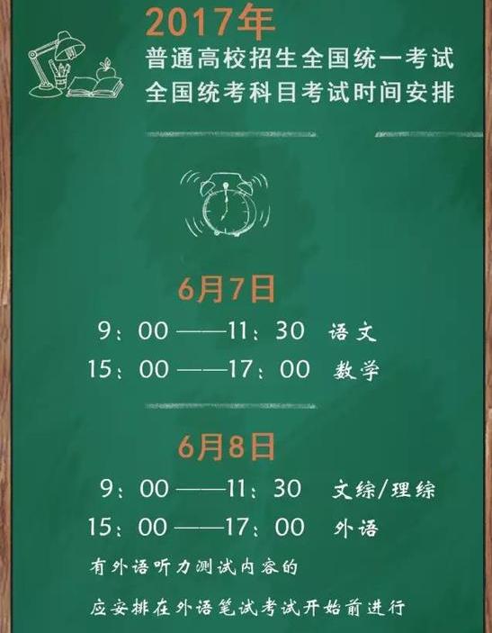 2017年高考全国统考科目及时间安排表出炉_东