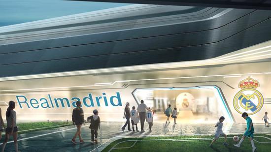 图中为皇家马德里足球娱乐体验中心的正门入口。