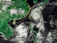 """双台风组团逼近 """"泰利""""经过海域阵风或达17级"""
