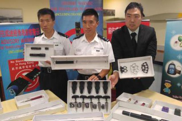 香港机场前5月查获154宗携带违禁品案 多为伸缩警棍
