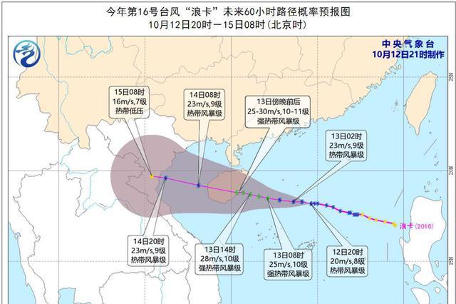 """""""浪卡""""或周二傍晚登陆 广东发预警短信8055万人次"""