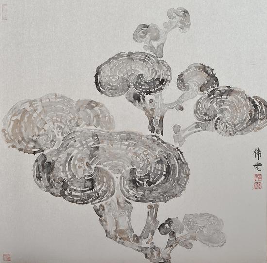 郭伟光《心药之六灵芝》100×100cm 银箔矿物质颜料 2020