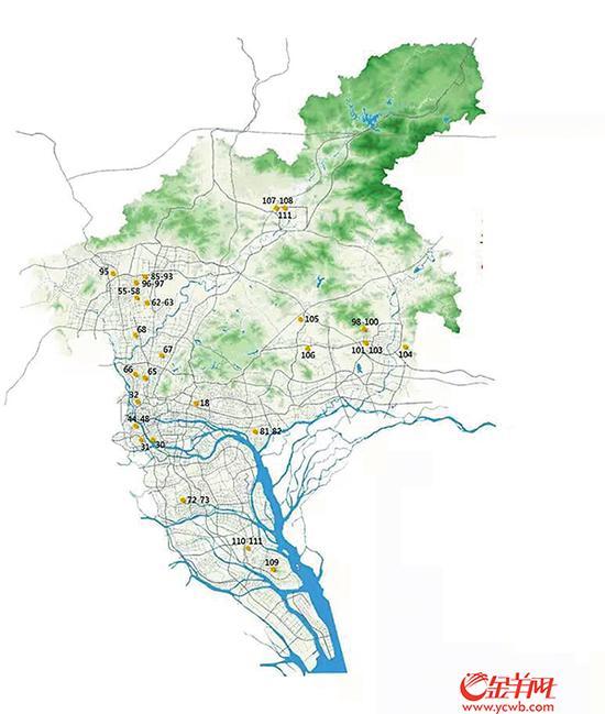 住宅地块44宗(图中数字为 《供地蓝皮书》中地块序号 )