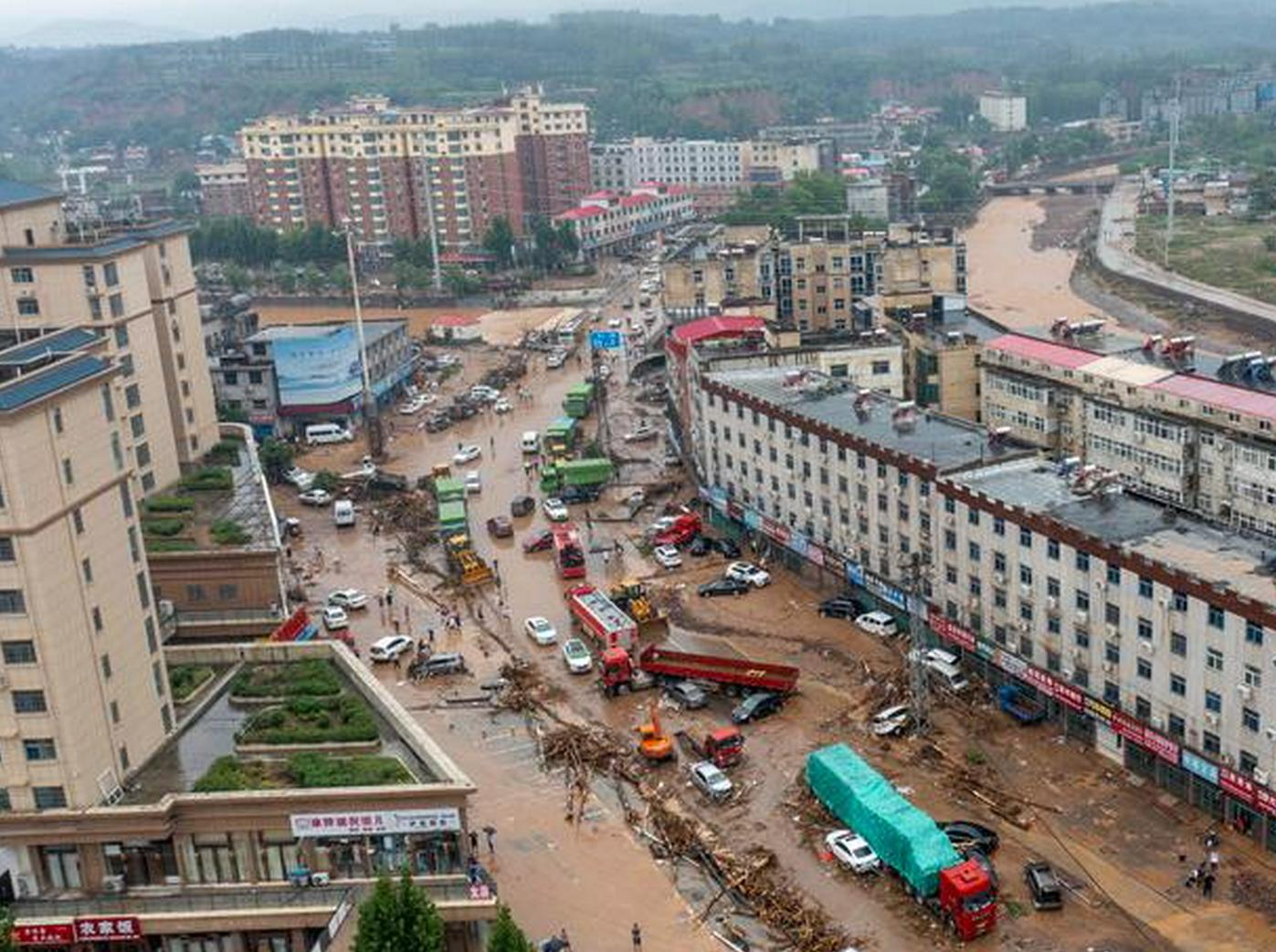 多图直击河南暴雨:洪水肆虐下的米河镇
