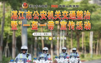 """湛江市公安机关开展交通整治暨""""一盔一带""""宣传活动"""